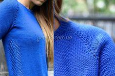 Пуловер реглан без швов с ажурной вставкой. Полное описание, схема