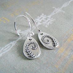 Fiddleheads Artisan PMC Jewelry Fine Silver Fern by SilverWishes, $56.00