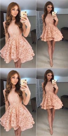 chic long sleeves coral short lace homecoming party dresses, elegant semi formal dresses, 2017 fall homecoming party gowns. #partydresses