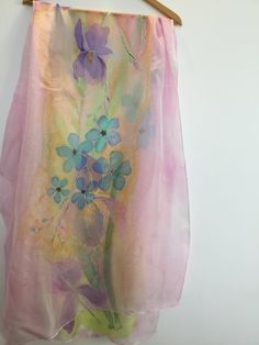 Irises with Do-not-forget-me flowers Silk chiffon shawl 70 x 180 cm / 27 x 70 in.