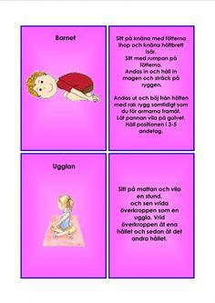 Barnyoga kort. Yoga For Kids, Exercise For Kids, Learn Swedish, Swedish Language, Massage, Teacher, Learning, Classroom Ideas, Buxus