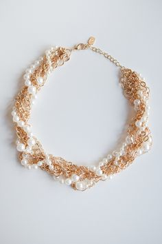 Wrapped in Gold Pearls Necklace