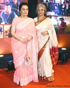 The two Veterans of #Bollywood, #AshaParekh and #WaheedaRehman sizzle the success party of blockbuster movie #Dangal in graceful #Chikankari and #BangaloreSilk respectively. If you like what they are wearing then you will for sure love our collection of these #sarees. to check out, please visit www.shatika.co.in