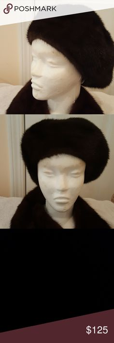 SAKS 5TH AVE GENUINE MINK HAT SAKS 5TH AVE GENUINE MINK HAT BROWN Saks Fifth Avenue Accessories Hats