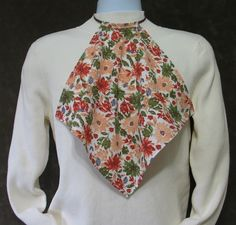 Napkin Style Adult Bib Brick Red, Peach and Green Floral
