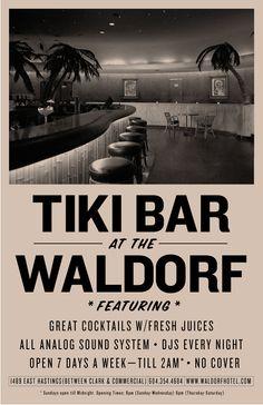Waldorf tiki bar Vancouver - I grew up just blocks away from here :) Tiki Art, Tiki Tiki, Tropical Mixers, Tiki Lounge, Vintage Tiki, Restaurant Lighting, Tiki Torches, Tiki Room, Polynesian Culture