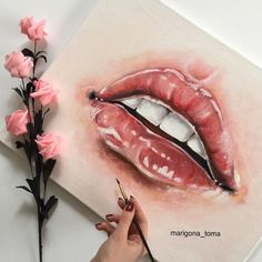 """Just finished this lips drawing. Painted with oil in canvas. Hope you like it. Im going to make some others like this Inspired: @s_steller_ #lips…"""