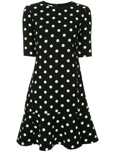 Oscar de la Renta polka dot drop waist dress - Black Blouse Styles, Blouse Designs, Stella Mccartney Vestidos, Vestido Casual, Drop Waist, Work Fashion, Pattern Fashion, New Dress, Designer Dresses