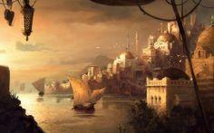 fantasy art landscapes arabic port city - Google Search