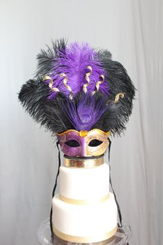 Mardi Gras/Masquerade/Carnival/Mask Cake Topper Purple and Gold Peacock/Ostrich Feather