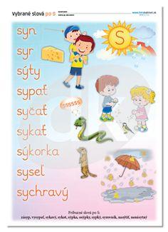 Vybrané slová po S   datakabinet.sk Montessori, Diy And Crafts, Alphabet, Language, Classroom, Nursery, Teaching, Education, Games