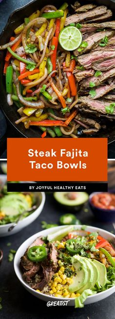Taco Tuesday gets expensive, so we like to make taco bowls at home. Whether you're vegan or craving beef, one of these healthy taco bowls will make your night. Mexican Food Recipes, Beef Recipes, Chicken Recipes, Cooking Recipes, Healthy Recipes, Healthy Meals, Healthy Food, Taco Bowls, Meal Prep