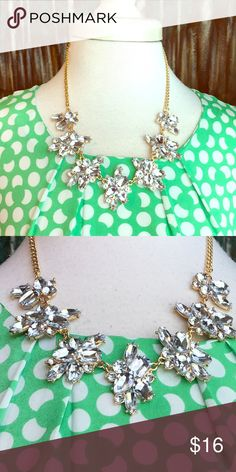 Rhinestone Crystal and Gold Statement Bib Necklace New - Floral Rhinestone Bib Necklace - Gold Plated Chain - Adjustable length - light weight and stunning - J Crew 💎Style💎 without the J Crew 💲Price💲 - gift box included with purchase  with Boutique Jewelry Necklaces
