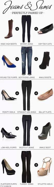 tipos de pantalones y zapatos