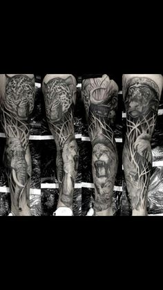 60 lion sleeve tattoo designs for men - masculine ideas African Sleeve Tattoo, Animal Sleeve Tattoo, Nature Tattoo Sleeve, Leg Sleeve Tattoo, Full Sleeve Tattoos, Tattoo Sleeve Designs, Animal Tattoos, Tattoo Designs Men, Lion Leg Tattoo