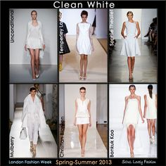 Clean White Color Trend for Spring Summer 2013 #LFW  #Fashion