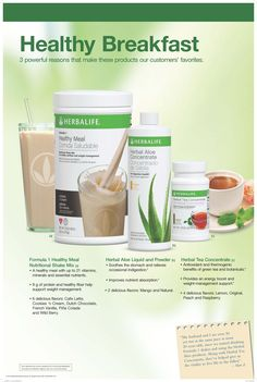Start your day with a healthy breakfast. We all know breakfast is the most important meal of the day so why not kick start your day the Herbalife way! Includes our core Daily Nutrition product Formulas plus Herbal Aloe Concentrate for soothing and clea Herbalife 24, Herbalife Dieta, Comidas Herbalife, Herbalife Quotes, Herbalife Shake Recipes, Herbalife Distributor, Herbalife Nutrition, Formula 1 Herbalife, Weight Loss Tips