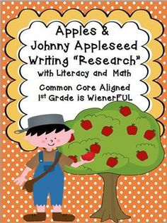 """Apples & Johnny Appleseed Writing """"Research"""" w/ Literacy and Math Activities!  Lots of leveled skills for leveled learning!!!  Tons of writing activities and printables!  TWO FREEBIES in the Download Preview! Over 80 pages of leveled skills!"""