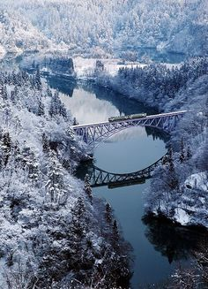 Fukushima, Japan More Training, Winter Landscape, Winter Wonderland, Landscape Photography, Bridges, Rivers, Modern Lights, Natural Winter Wonderland, Japan #nature #landscape #photography Train on bridge over river  through snowy forest | Snowy landscape in Fukushima, Japan. Winter is coming and here at Delightfull studio we just picked up some idyllic Winter photos that will turn you a fan of this season. Imagine yourself lost in a frozzing forest both scared and with a mystical magic……