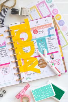"Use this free SVG file with Cricut or Silhouette to make a DIY Happy Planner divider from a plastic folder to use as a ""today"" marker in your Happy Planner! Blog Planner, Planner Pages, Life Planner, Printable Planner, Planner Stickers, Planner Ideas, Planner Diy, Organized Planner, Discbound Planner"