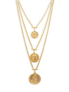 Layered Gold Coins Necklace by Ben-Amun at Gilt Gold Coin Necklace, Coin Jewelry, Jewelery, Gold Jewellery, Glass Jewelry, Luxury Jewelry, Necklace For Neckline, Gold Coins For Sale, Antique Jewelry