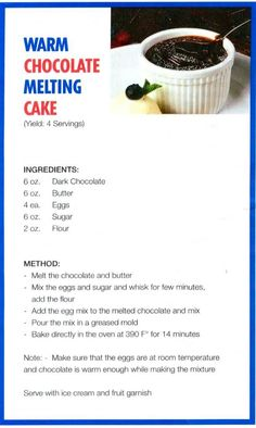 Melting cake method recipes