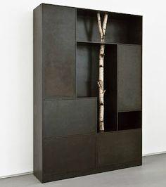 Andrea Branzi's anodized aluminum and birch tree shelving unit (1)
