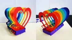 Pop up card (rainbow hearts) - learn how to make a popup heart greeting ...