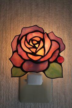 薔薇のおやすみランプ | ステンドグラス アトリエR