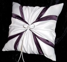 Use coupon code  PINITFREESHIP for FREE shipping! White or Ivory Wedding Ring Bearer Pillow Plum by Jessicasdaydream