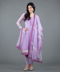 Lilac Salwar with Silk Leheriya Border. Perfect for spring events! Buy: $398 #Luxemi