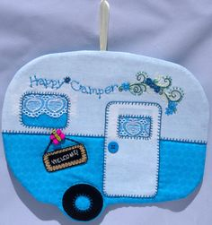 Camper Applique | Happy Camper Mug Rug Welcome by QuiltinCats on Etsy