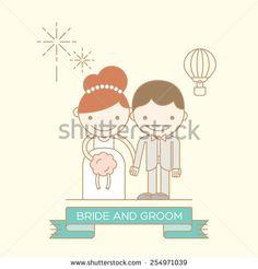 Cute Bride and Groom cartoon illustration