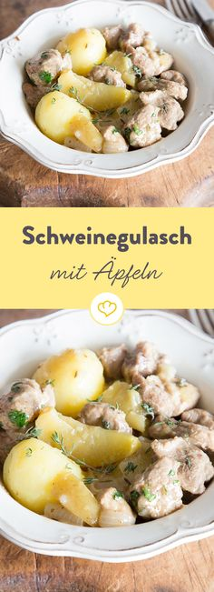 Bei diesem saftigen Gulasch wird Scheinefleisch zusammen mit Zwiebeln und Äpfeln butterweich geschmort und mit leckeren Salzkartoffeln serviert.
