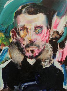 Adrian Ghenie (Romanian, b. 1977, Baia-Mare, Romania) - Self-Portrait With Fur Collar, 2014 Paintings: Oil on Canvas mounted on MDF