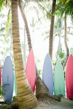 Candy-coloured surfboards