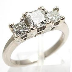 Estate Three Stone Diamond Engagement Ring Solid 14K White Gold