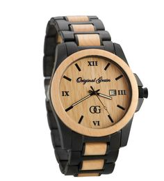 original grain mens maple wood watch front