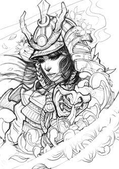 Female Samurai Tattoo, Japanese Warrior Tattoo, Samurai Tattoo Sleeve, Japanese Tattoo Symbols, Japanese Tattoo Art, Japanese Tattoo Designs, Japanese Sleeve Tattoos, Armor Tattoo, Norse Tattoo