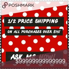 1 MORE REASON I'll split the shipping on all purchases over $75! You MUST let me know before you check out so I can adjust the price!  One more reason to get your shop on! -As if we need it! ENJOY AN ADDITIONAL 10% OFF BUNDLES OF 2 OR MORE ITEMS! Other