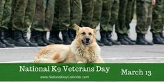 NATIONAL K9 VETERANS DAY March 13th recognizes National K9 Veterans Day.   A lot of things changed after the bombing of Pearl Harbor in 1941. Oil, leather and rubber were rationed. Men were drafted. Women rolled up their sleeves and built war supplies.