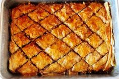 Baklava 1 package Phyllo Dough 4 cups Chopped Walnuts Or Pecans 1 teaspoon Cinnamon 1-1/2 stick Butter, Melted 2 cups Honey 1/2 cup Water 1/2 cup Sugar 3 teaspoons Vanilla Extract