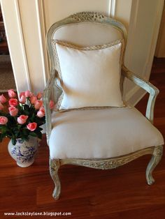 Locksley Lane: French Chair Makeover with Provence, French Linen and Old White