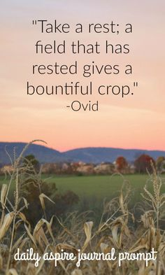"""JOURNAL PROMPT """"Take rest; a field that has rested gives a bountiful crop."""" -Ovid"""