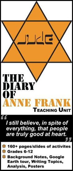 A daring teaching unit for Anne Frank's classic memoir or play DIARY OF A YOUNG GIRL. 160+ pages/slides of activities that are sure to engage middle school or high school English students. Historical Background PowerPoint, Google Earth Tour, Plot, Conflict, Writing Journals, Vocabulary, Posters, Essay, Public Domain Holocaust pictures, and Extra Credit Dare by Created for Learning