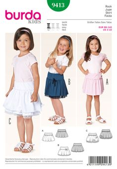 here they are, little girls will love these dresses. wonderfully comfortable from jersey with hip yoke and gathered skirts. the underskirts of variant b and c have additional batiste ruffles.