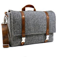 Large camera messenger bag with leather strap  - black and white herringbone wool. $269.00, via Etsy.