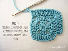 El blog de Dmc: Tutorial Simple Square de ganchillo Crochet Pumpkin Pattern, Granny Square Crochet Pattern, Crochet Stitches Patterns, Crochet Squares, Crochet Motif, Knitting Patterns, Crochet Hats, Love Crochet, Vintage Crochet