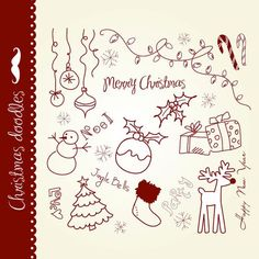 Christmas doodles clip art hand drawn elements digital collage vintage Seasons Greetings clipart Personal and Commercial Use. Christmas Doodles, Christmas Drawing, Christmas Clipart, Christmas Bells, Christmas Art, Doodle Drawings, Doodle Art, Christmas Present Clip Art, Word Art Fonts