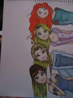 Merida, Rapunzel, Elsa & Anna (by NicoleCalma @deviantART) #Brave #Tangled #Frozen